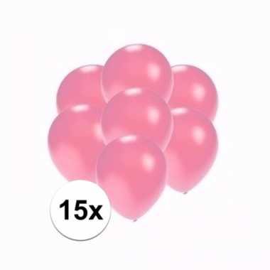 Mini metallic roze ballonnetjes 15 stuks