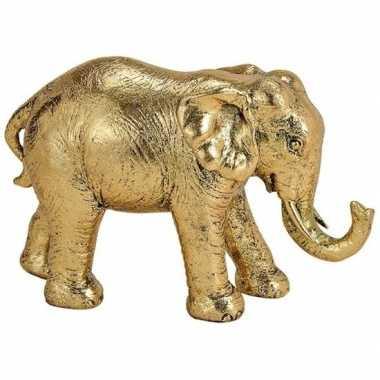 Mini olifant tuin beeldje goud 18 cm