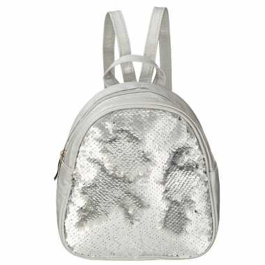 Mini rugzak zilver met pailletten 19 cm festival musthave