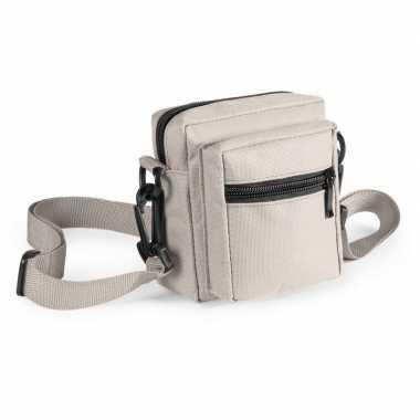Mini schoudertasje naturel met rits 11 cm