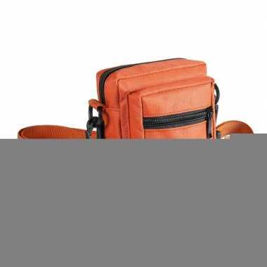 Mini schoudertasje oranje met rits 11 cm