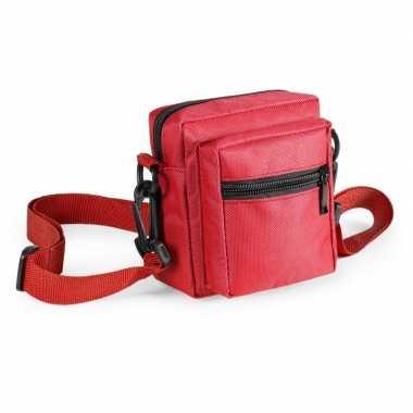 Mini schoudertasje rood met rits 11 cm