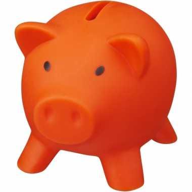 Mini spaarvarken/spaarpot oranje 9 cm