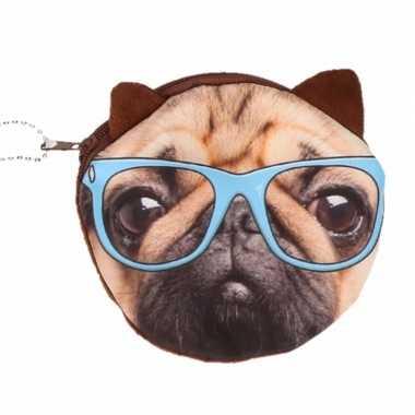 Mini tasje bruine mopshond met bril