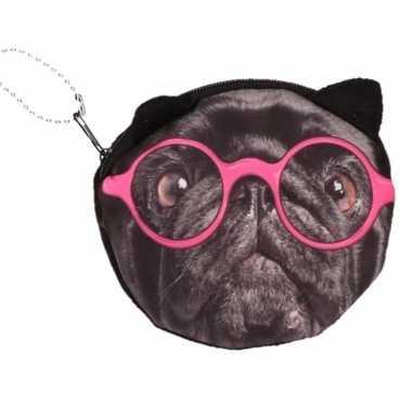 Mini tasje zwarte mopshond met bril