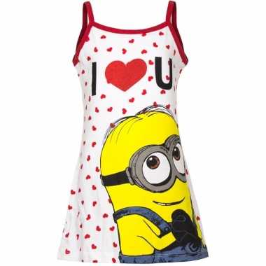 Minions nachtjapon wit/rood voor meisjes