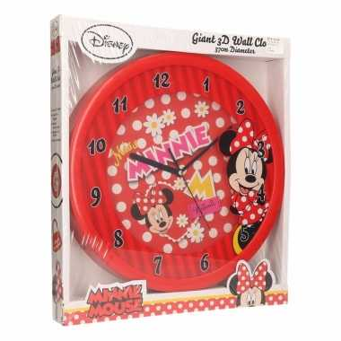 Minnie mouse klok 3d rood