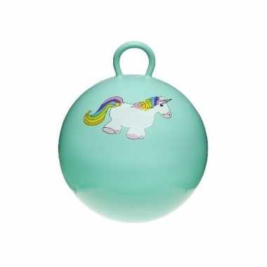 Mint groene skippybal met eenhoorn 46 cm