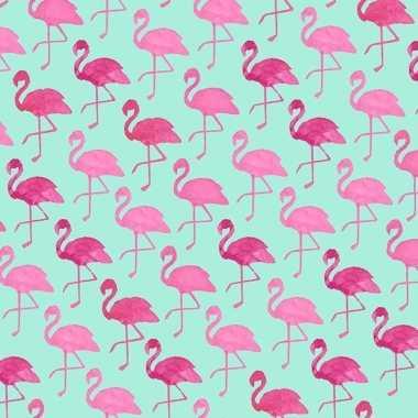 Mintgroen inpakpapier met roze flamingos 200 cm