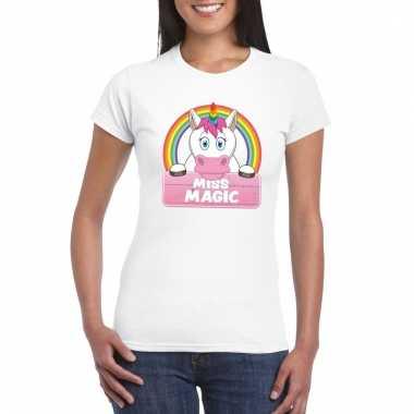 Miss magic de eenhoorn t-shirt wit dames