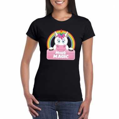 Miss magic de eenhoorn t-shirt zwart dames