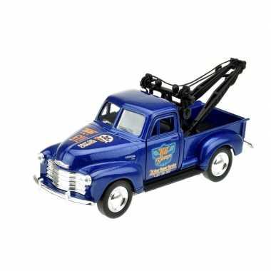 Modelauto chevrolet oldtimer 1953 stepside tow truck blauw 1:34