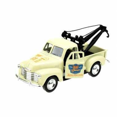 Modelauto chevrolet oldtimer 1953 stepside tow truck creme 1:34
