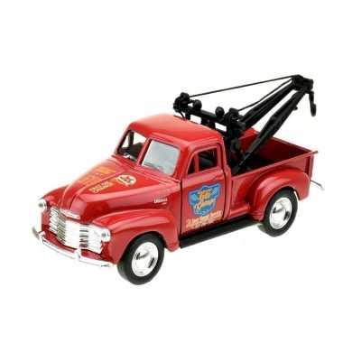 Modelauto chevrolet oldtimer 1953 stepside tow truck rood 1:34