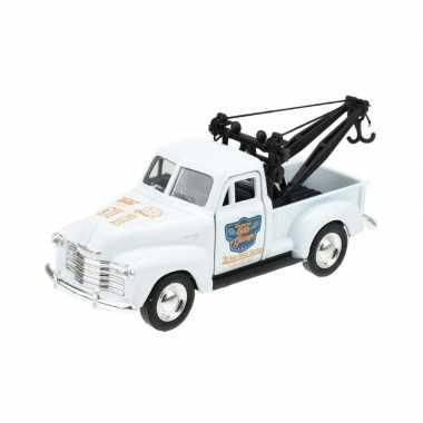 Modelauto chevrolet oldtimer 1953 stepside tow truck wit 1:34