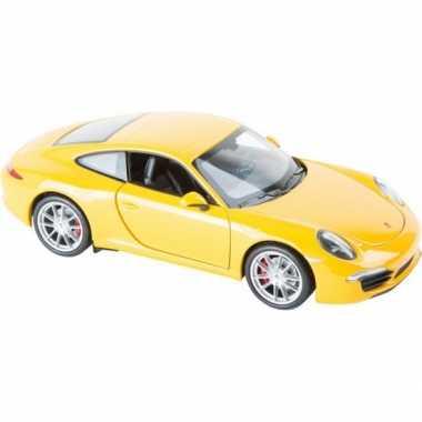 Modelauto gele porsche 911 carrera s8591