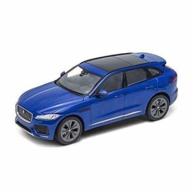 Modelauto jaguar f-pace blauw 1:34