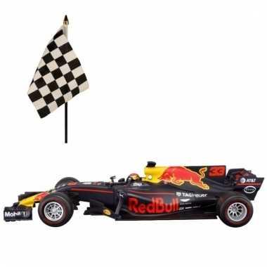 Modelauto max verstappen 1:43 met finish vlaggetje