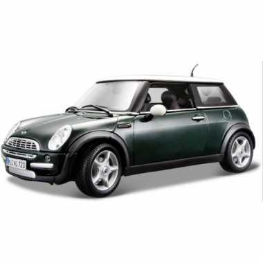 Modelauto mini cooper groen 1:18