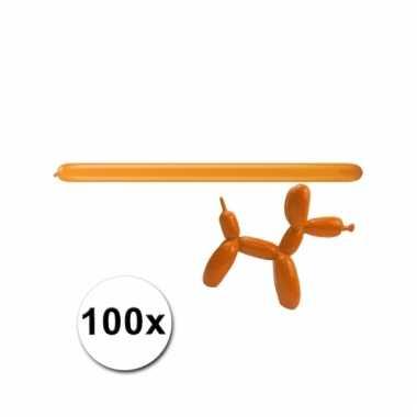 Modelleerballonnetjes oranje 100 stuks