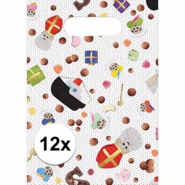Moderne sinterklaas feestzakjes 12 stuks met snoepjes print