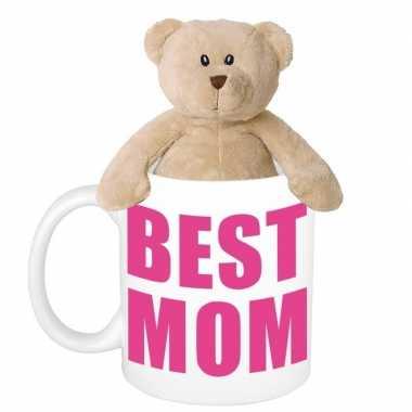 Moederdag best mom mok met knuffel beertje