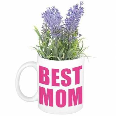 Moederdag best mom mok met lavendel kunst plantje