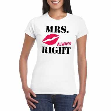 Mrs. always right t-shirt wit dames