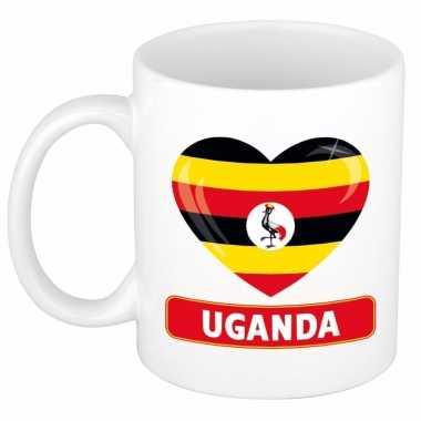 Oegandese vlag hartje koffiemok 300 ml