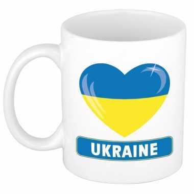 Oekraiense vlag hartje koffiemok 300 ml