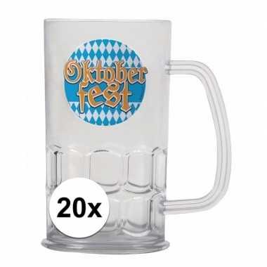 Oktoberfest - 20x bierfeest bierpullen kunststof van 500 ml