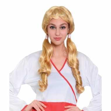 Oktoberfest - blonde pruik met staartjes voor dames
