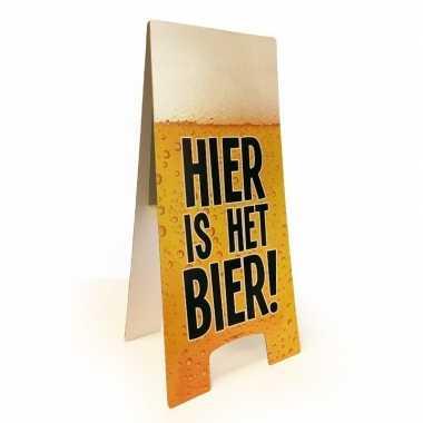 Oktoberfest - waarschuwingsbord hier is het bier 55x25 cm