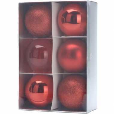 Onbreekbare kerstballen 12 stuks rood 8 cm
