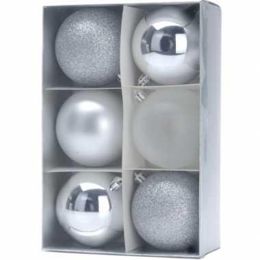 Onbreekbare kerstballen zilver 12 x