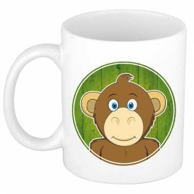 Ontbijtbeker aap print groen / wit voor kinderen 300 ml