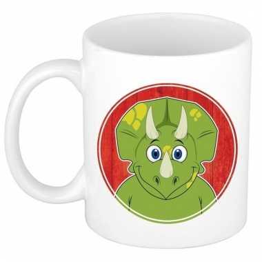 Ontbijtbeker dinosaurier print groen / wit voor kinderen 300 ml