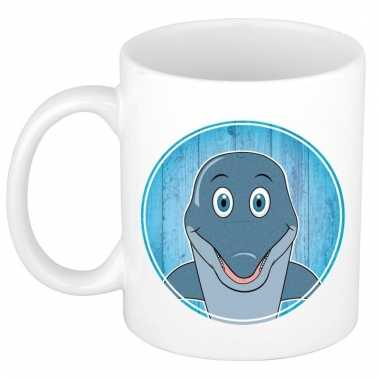 Ontbijtbeker dolfijn print blauw / wit voor kinderen 300 ml