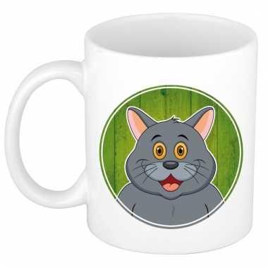 Ontbijtbeker grijze kat print groen / wit voor kinderen 300 ml