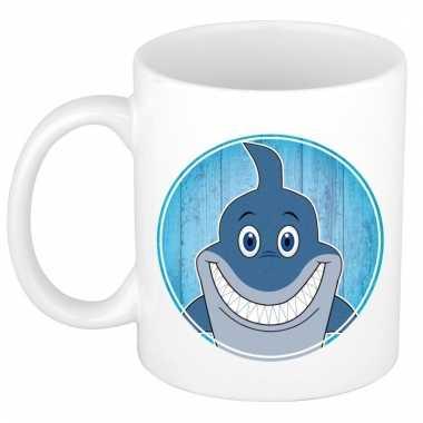 Ontbijtbeker haai print blauw / wit voor kinderen 300 ml