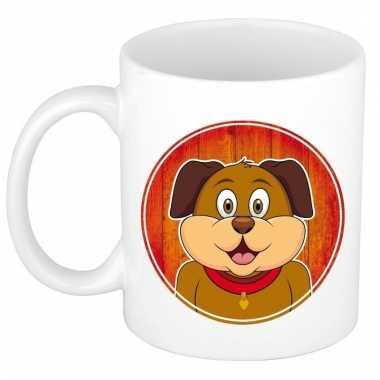 Ontbijtbeker hond print roodbruin / wit voor kinderen 300 ml