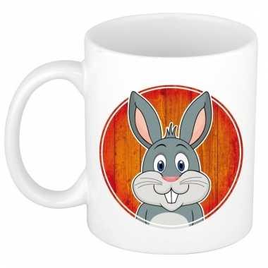 Ontbijtbeker konijn print rood / wit voor kinderen 300 ml