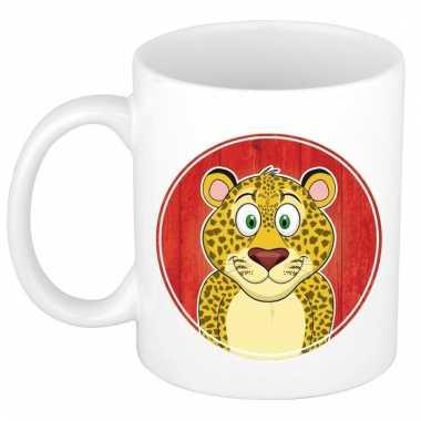 Ontbijtbeker luipaard print rood / wit voor kinderen 300 ml