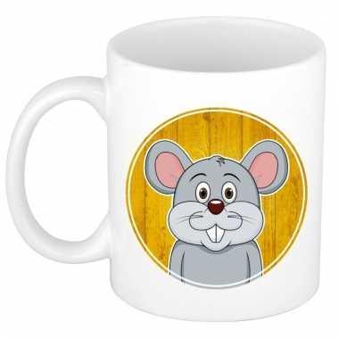 Ontbijtbeker muis print geel / wit voor kinderen 300 ml