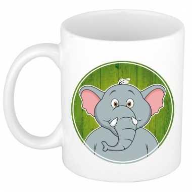 Ontbijtbeker olifant print groen / wit voor kinderen 300 ml