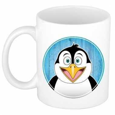 Ontbijtbeker pinguin print blauw / wit voor kinderen 300 ml