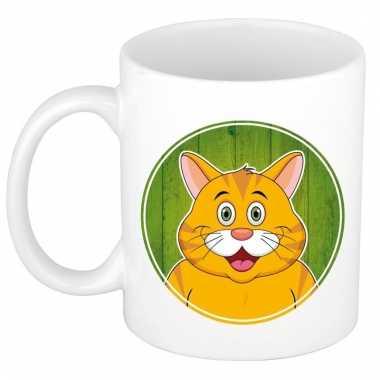 Ontbijtbeker rode kat print groen / wit voor kinderen 300 ml