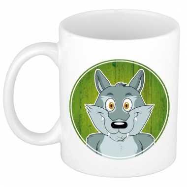 Ontbijtbeker wolf print groen / wit voor kinderen 300 ml