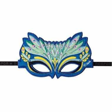 Oogmasker blauw met pauwveren