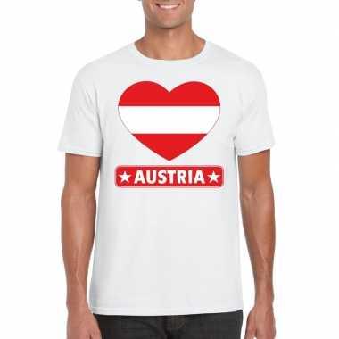 Oostenrijkse vlag in hartje shirt wit heren